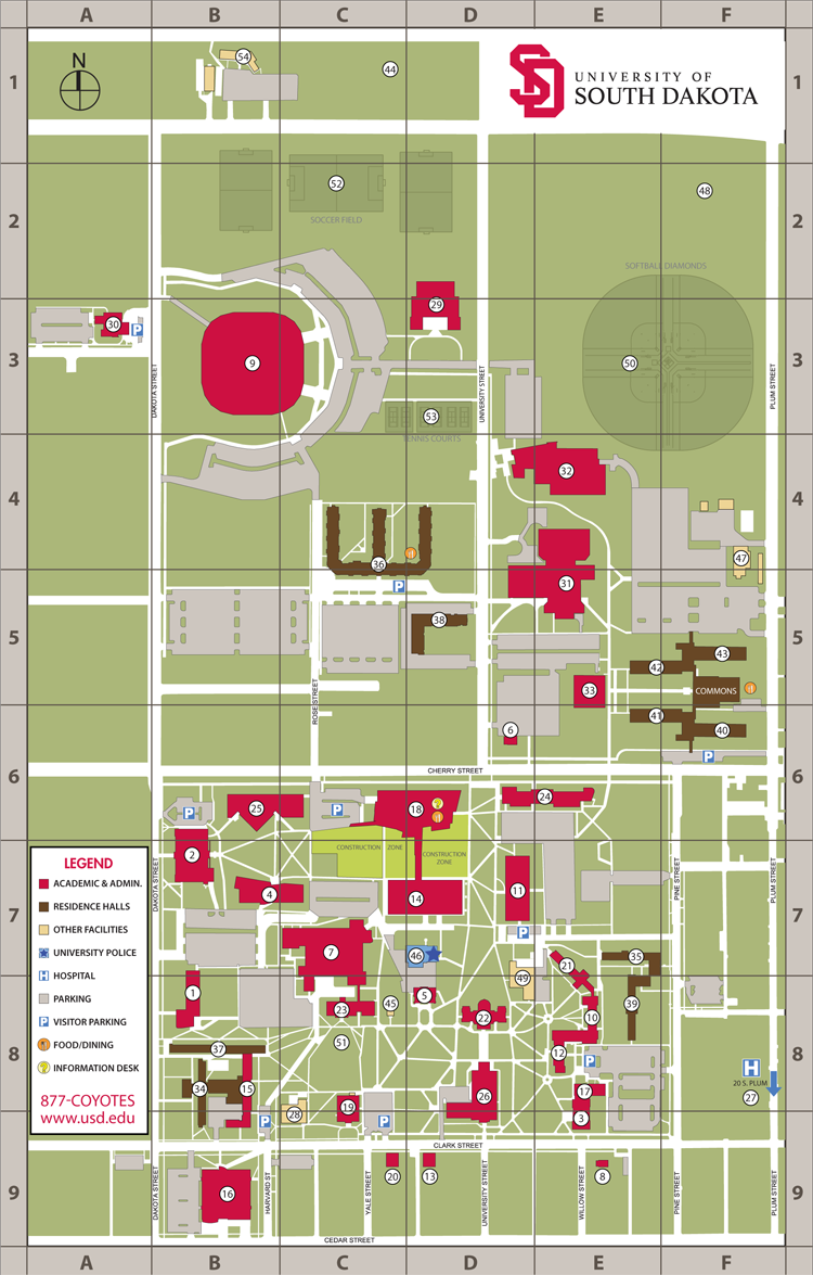 Usd Vermillion Campus Map.Vermillion Campus Usd